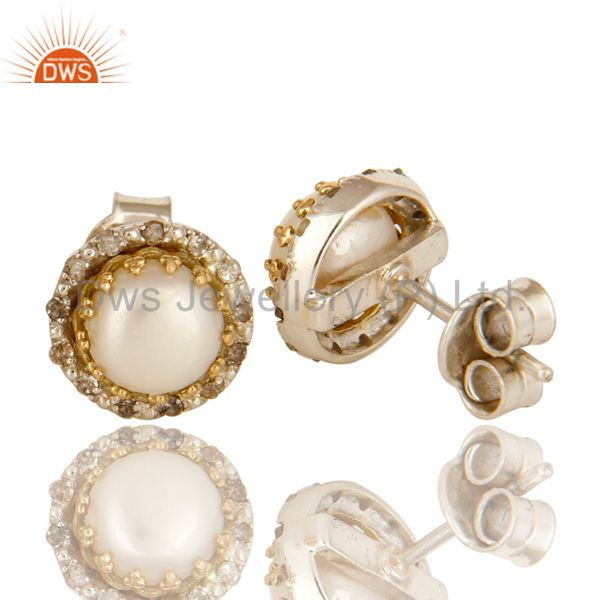 Exporter 18K Yellow Gold Pave Diamond And Natural Pearl Womens Stud Earrings
