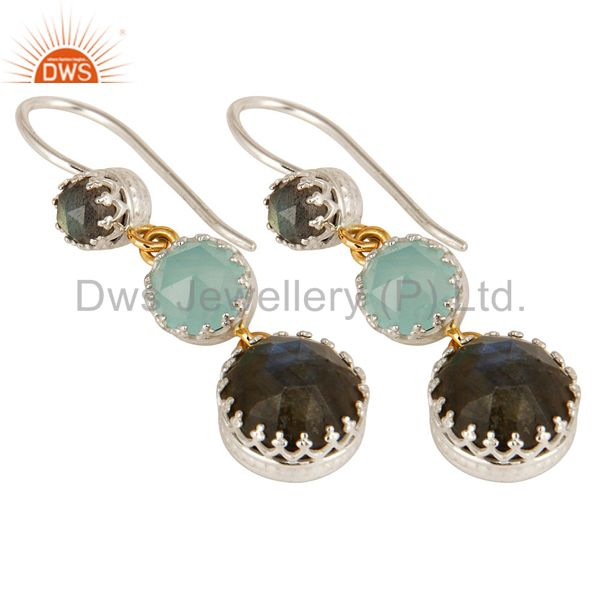 Exporter 18K Yellow Gold And Sterling Silver Blue Chalcedony & Labradorite Dangle Earring