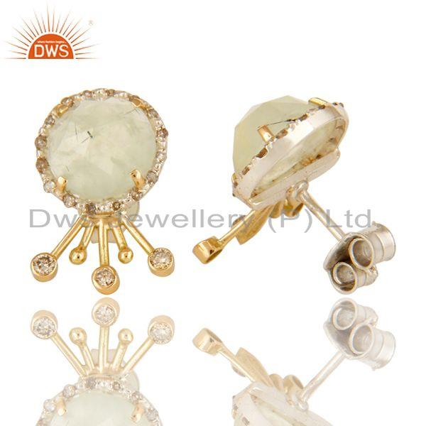 Exporter 18K Solid Yellow Gold Prehnite Gemstone Pave Diamond Stud Earrings