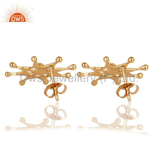 Exporter 18K Solid Yellow Gold Natural Diamond Round Cut Star Stud Earrings