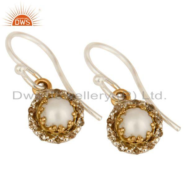 Exporter 18K Yellow Gold And Sterling Silver Pave Diamond Pearl Hook Dangle Earrings