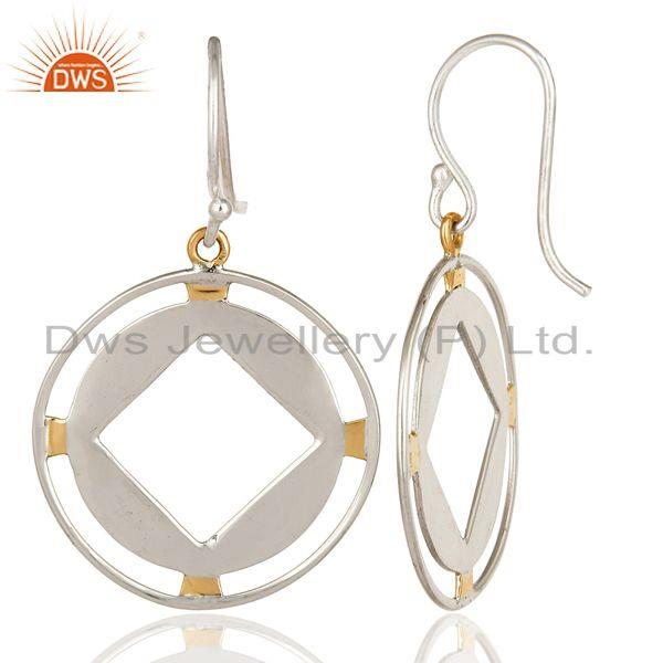 Exporter 18K Yellow Gold And Sterling Silver Handmade Circle Hook Dangle Earrings
