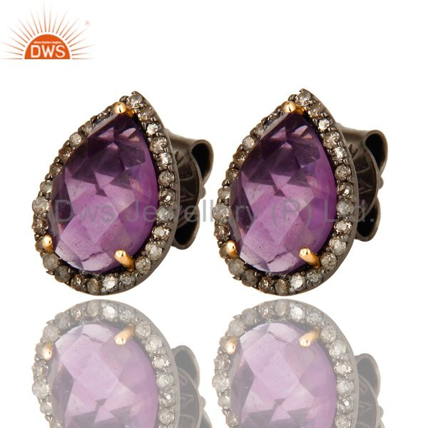 Exporter 14K Yellow Gold And Sterling Silver Amethyst Pave Set Diamond Stud Earrings