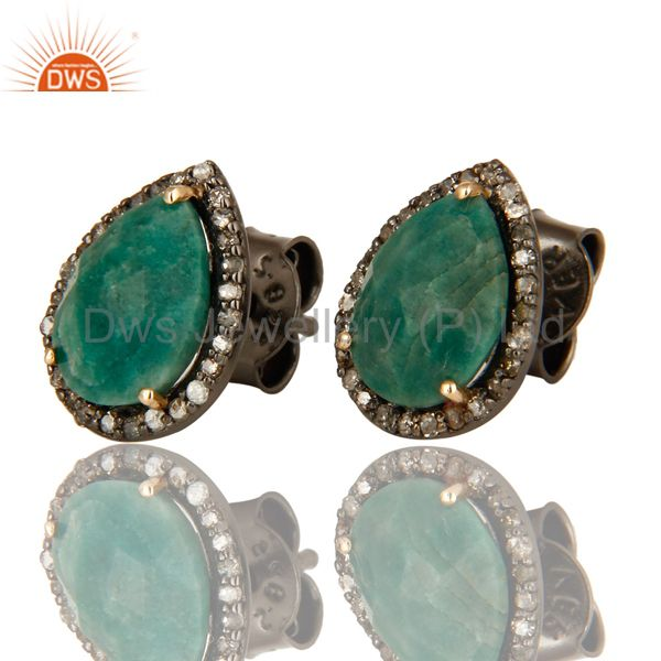 Exporter 14K Solid Yellow Gold Natural Emerald And Pave Set Diamond Womens Stud Earrings
