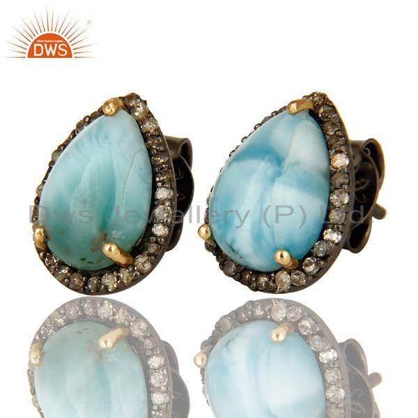 Exporter Natural Diamond Pave Set And Larimar Gemstone Stud Earrings In 14K Yellow Gold