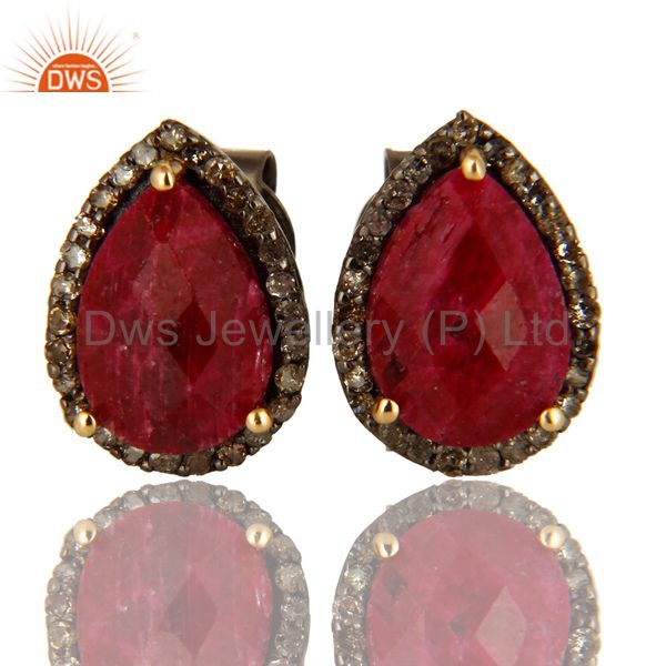Exporter Oxidized 14K Solid Yellow Gold Ruby And Pave Set Diamond Stud Earrings For Women