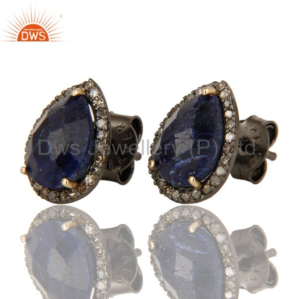 Exporter 14K Yellow Gold Blue Sapphire And Pave Diamond Ladies Stud Earrings For Womens