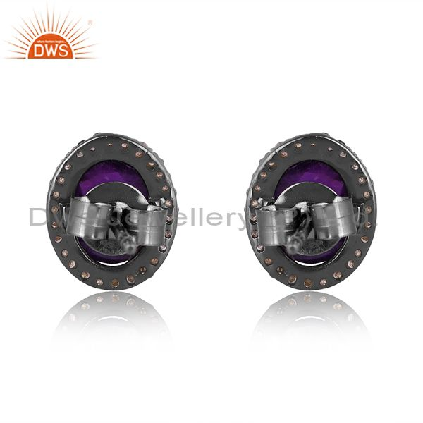 Exporter 14K Solid Yellow Gold Amethyst Gemstone Ladies Stud Earrings With Pave Diamond
