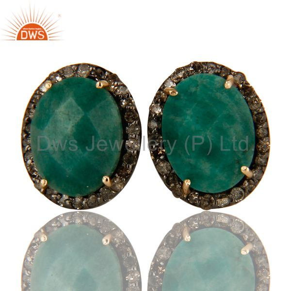Exporter Oxidized 14K Yellow Gold Emerald And Pave Set Diamond Stud Earrings For Womens