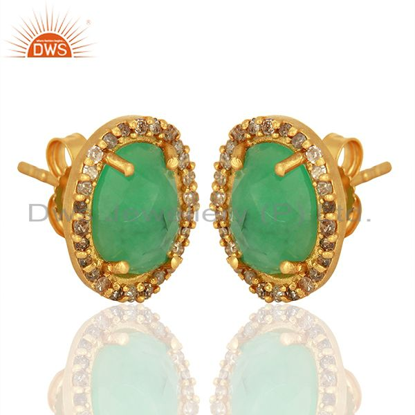 Exporter Gold Plated Emerald gemstone Pave Diamond Stud Earrings Jewelry