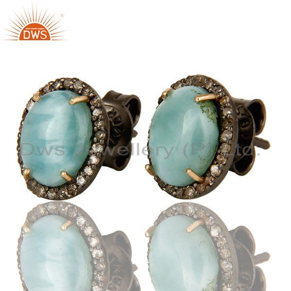 Exporter Natural Larimar 14K Yellow Gold And Sterling Silver Pave Diamond Stud Earrings