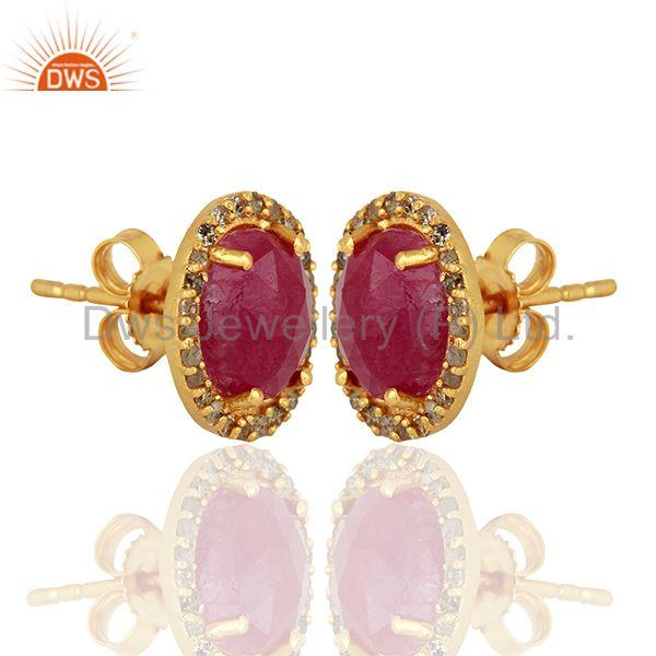Exporter Natural Ruby Gemstone Pave Diamond Gold Plated Stud Earrings Supplier