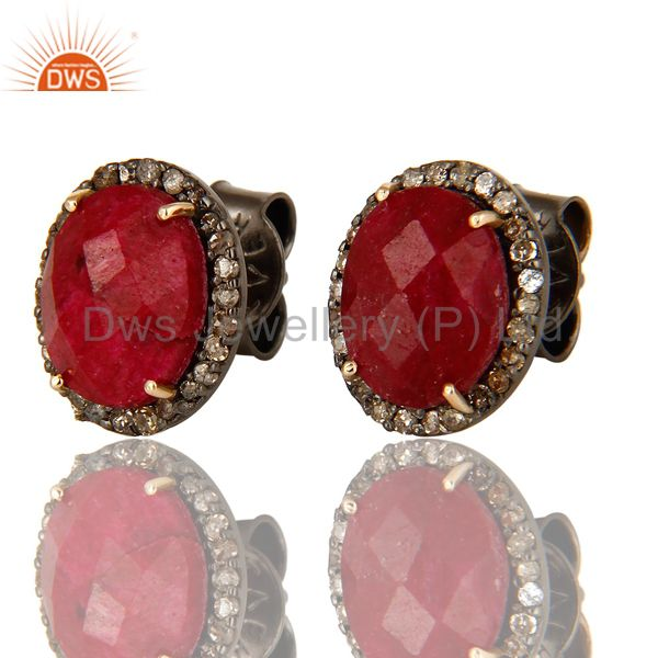 Exporter Natural Ruby 14K Yellow Gold And Sterling Silver Stud Earrings With Pave Diamond