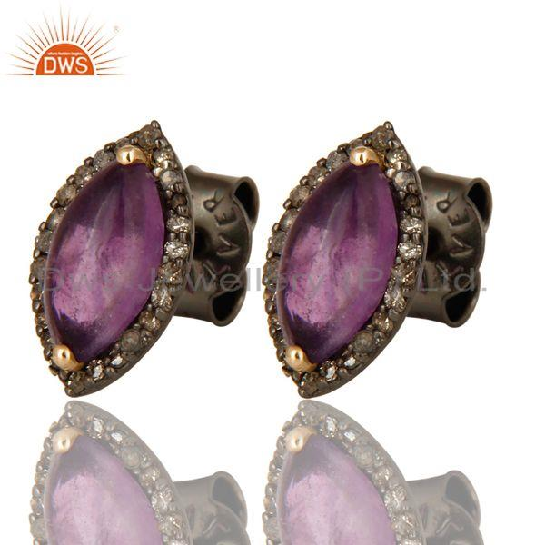 Exporter Natural Amethyst Gemstone And Pave Diamond 14K Yellow Gold Stud Earrings