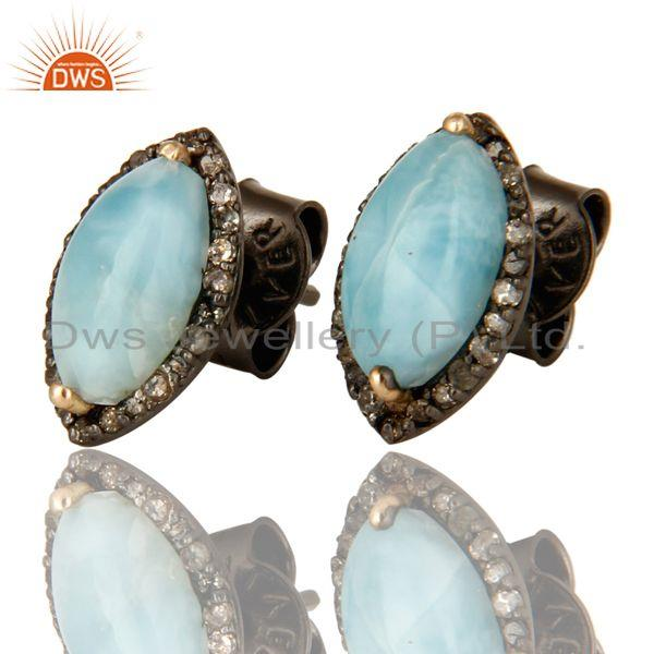 Exporter Larimar 14K Yellow Gold And Sterling Silver Pave Diamond Womens Stud Earrings