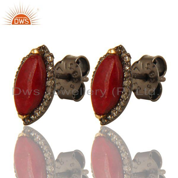 Exporter Oxidized 14K Yellow Gold Pave Set Diamond ANd Ruby Stud Earrings For Womens