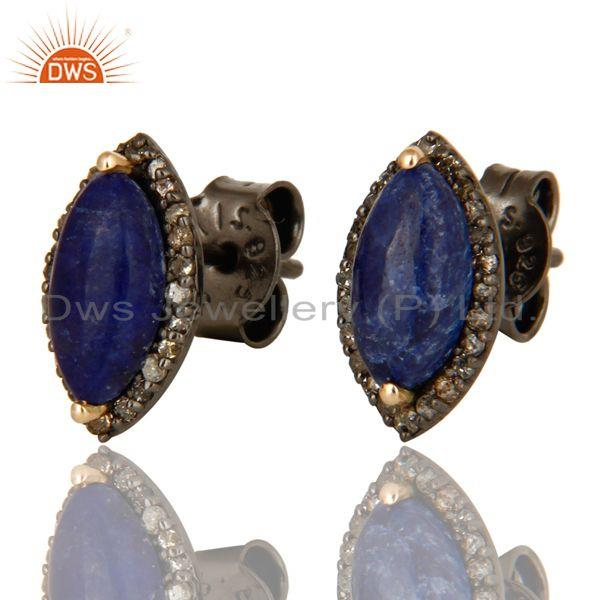 Exporter Natural Sapphire 14K Yellow Gold And Sterling Silver Pave Diamond Stud Earrings