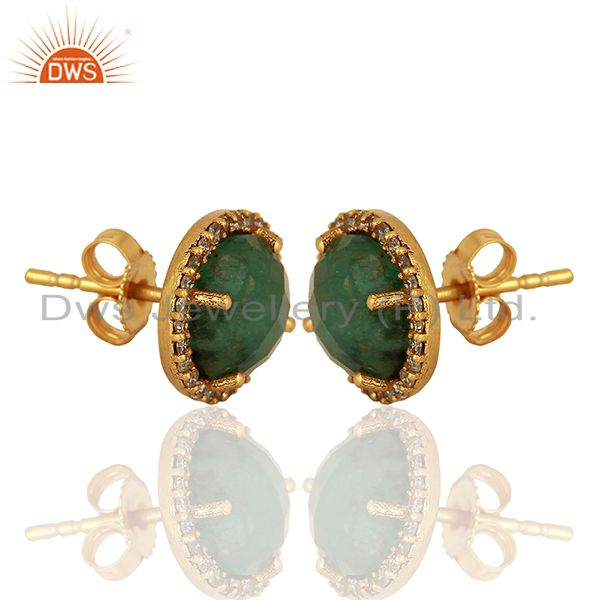 Exporter Emerald Gemstone Silver Pave Diamond Stud Earrings Manufacturer