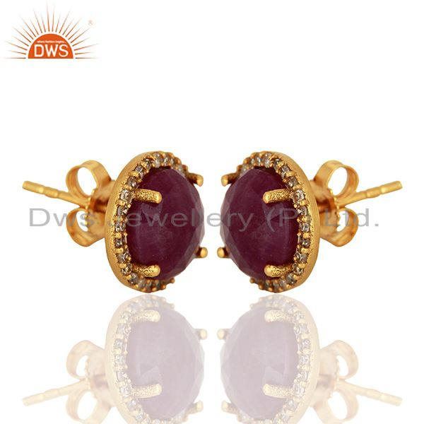 Exporter Ruby Gemstone Diamond 18k Yellow Gold Stud Earrings Jewelry Manufacturer