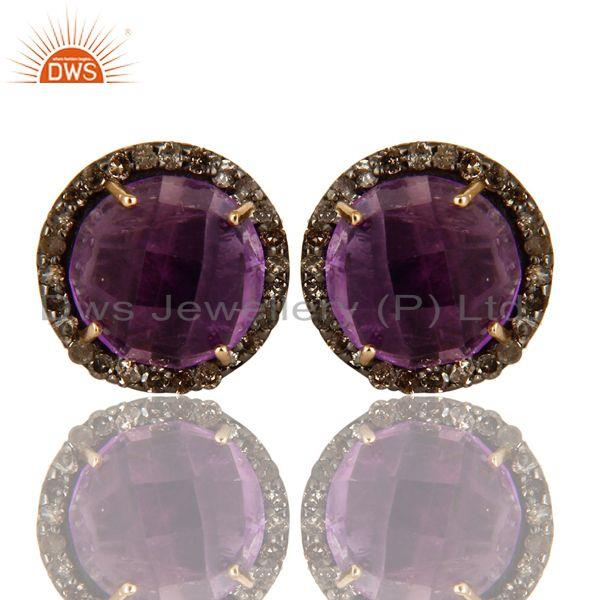 Exporter 14K Yellow Gold Pave Diamond And Amethyst Round Stud Earrings For Womens