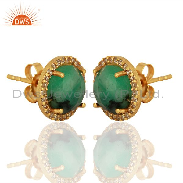 Exporter 14k Gold 925 Silver Emerald Pave Diamond Stud Earrings Supplier