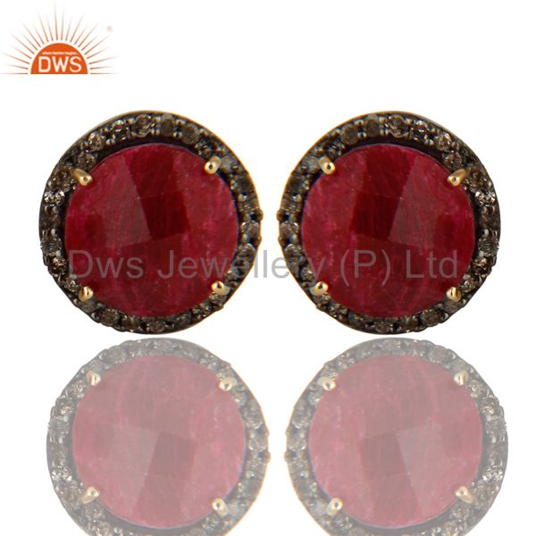 Exporter 14K Solid Yellow Gold Diamond Framed And Ruby Round Stud Earrings For Womens