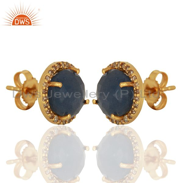 Exporter Blue Sapphire Gemstone Pave Set Diamond Stud Earrings Supplier