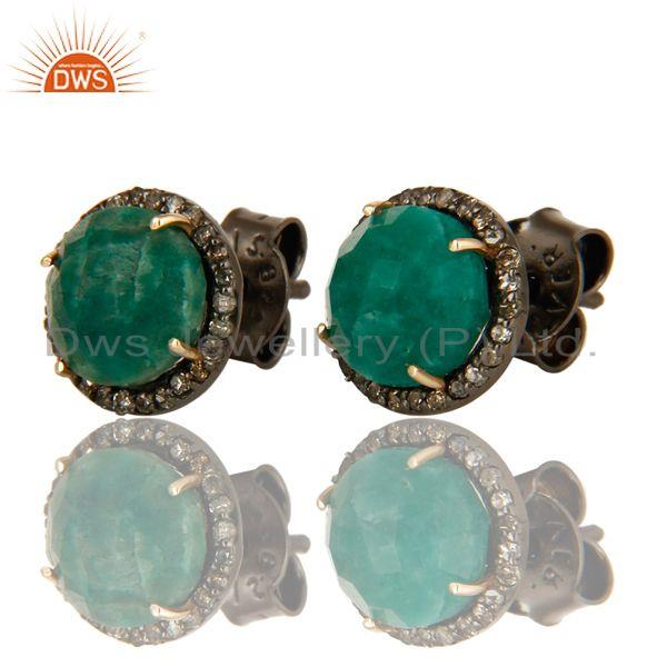 Exporter of Round emerald gemstone diamond set silver stud earrings jewelry