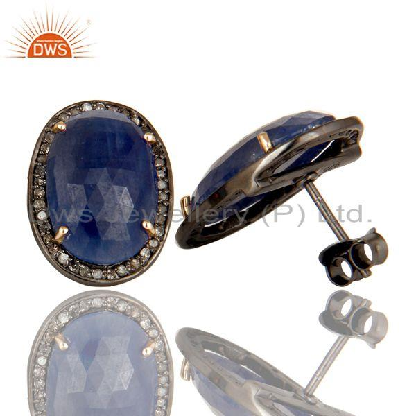 Exporter 14K Solid Yellow Gold Pave Set Diamond And Blue Sapphire Oval Stud Earrings