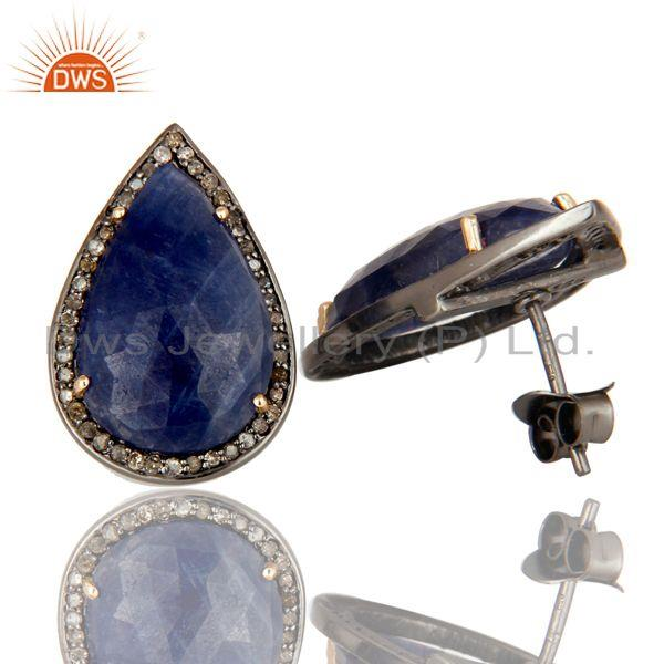Exporter 14K Solid Yellow Gold Pave Diamond And Blue Sapphire Pear Shape Stud Earrings