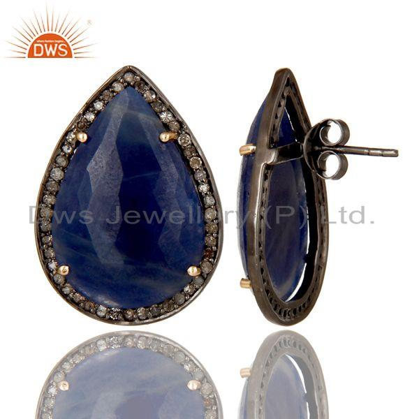 Exporter Solid 14K Yellow Gold Pave Diamond And Blue Sapphire Pear Shape Stud Earrings