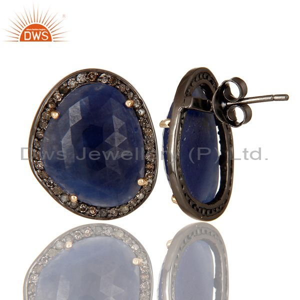 Exporter 14K Yellow Gold Pave Set Diamond And Blue Sapphire Ladies Stud Earrings