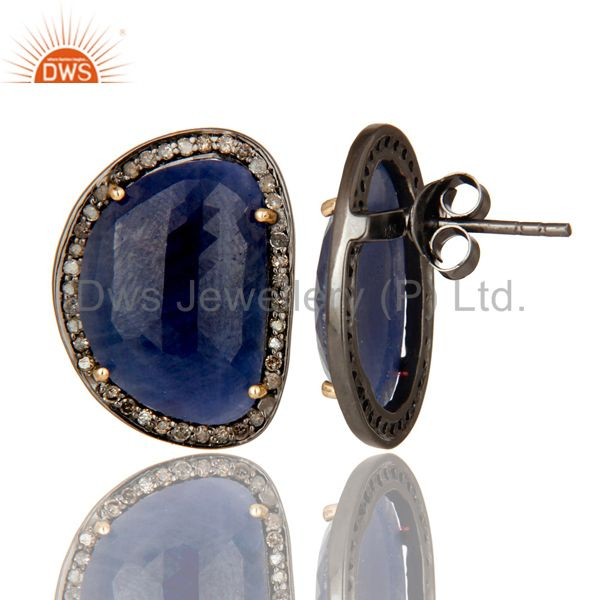 Exporter 14K Yellow Gold Pave Set Diamond And Blue Sapphire Womens Stud Earrings