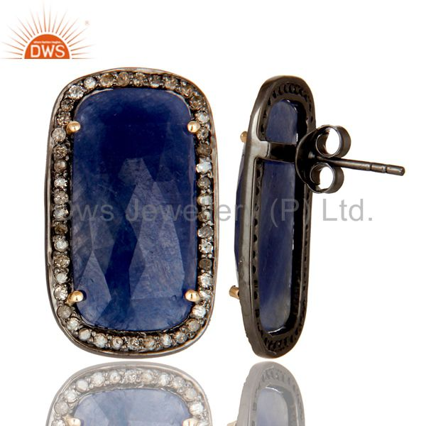 Exporter 14K Solid Yellow Gold Pave Set Diamond And Blue Sapphire Womens Stud Earrings