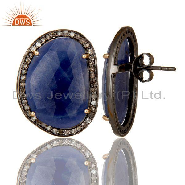 Exporter 14K Solid Yellow Gold Blue Sapphire And Diamond Accent Stud Earrings