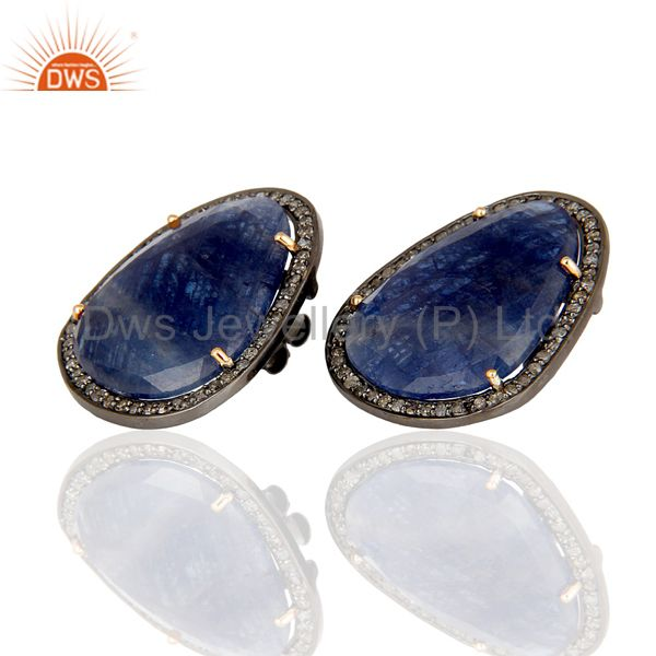 Exporter Diamond and Blue Sapphire Black Oxidized Sterling Silver Stud