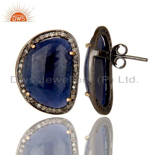 Exporter 14K Solid Yellow Gold Pave Diamond And Blue Sapphire Womens Stud Earrings