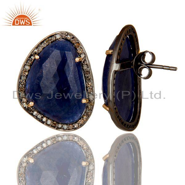 Exporter Solid 14K Yellow Gold Pave Diamond And Blue Sapphire Womens Stud Earrings