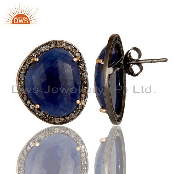 Exporter Solid 14K Yellow Gold Blue Sapphire Womens Stud Earrings With Pave Set Diamond