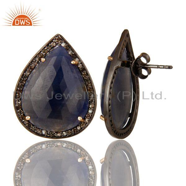 Exporter Pave Set Diamond And Blue Sapphire 14K Gold Sterling Silver Stud Earrings