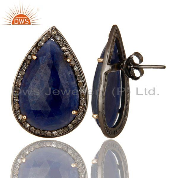 Exporter Pave Set Diamond And Blue Sapphire 14K Gold Sterling Silver Drop Stud Earrings