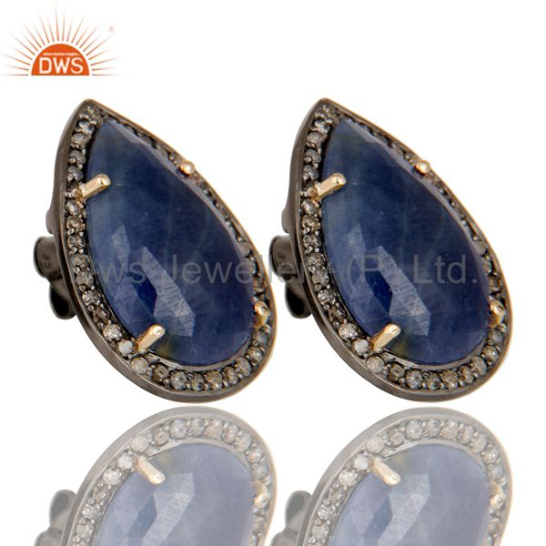 Exporter 18K Yellow Gold Sterling Silver Blue Sapphire And Pave Diamond Drop Stud Earring