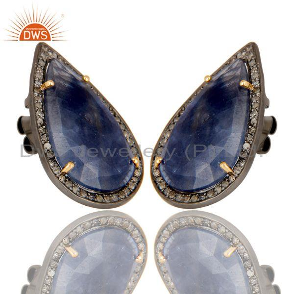 Exporter Oxidized 14K Yellow Gold Pave Diamond And Blue Sapphire Drop Stud Earrings
