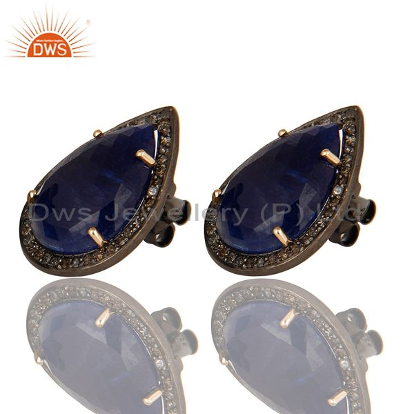 Exporter 14K Yellow Gold Sterling Silver Blue Sapphire Stud Earrings With Pave Diamond