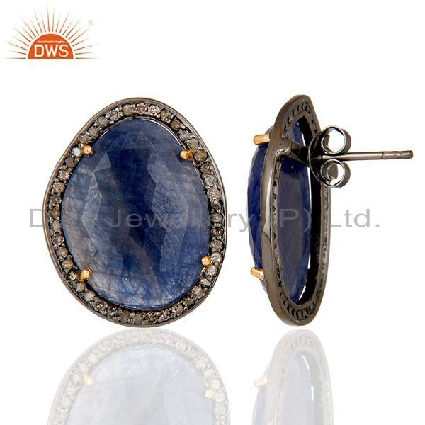 Exporter Diamond and Blue Sapphire Black Oxidized 925 Silver Stud Earring