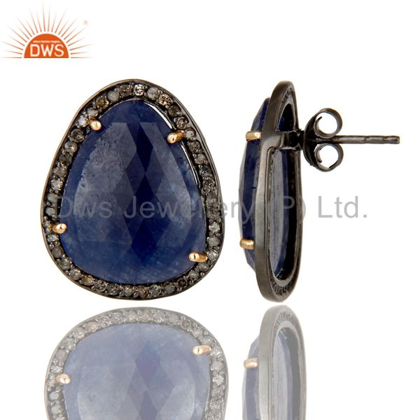 Exporter 18K Gold 925 Sterling Silver Pave Diamond & Blue Sapphire Prong Setting Earrings