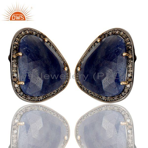Exporter Blue Sapphire and Pave Diamond Precious Stud Earring