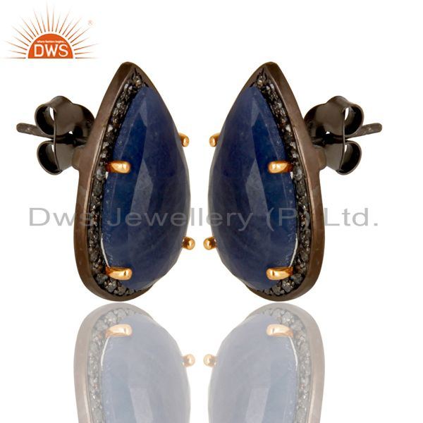 Exporter 14K Solid Gold 925 Sterling Silver Diamond & Blue Sapphire Studs Earrings