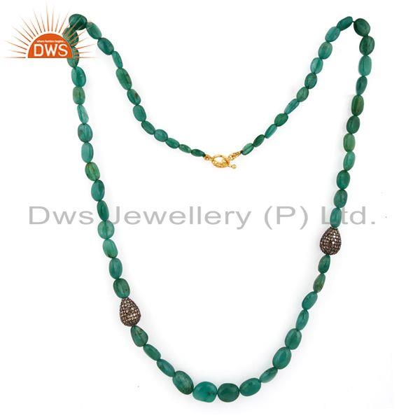 Exporter Polished Emerald Gemstone Beads 18K Solid Gold Pave Diamond 925 SIlver Necklace