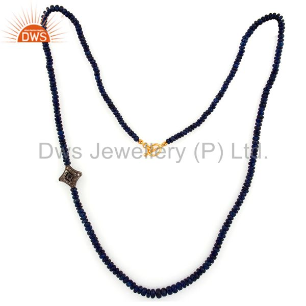 Exporter Blue Sapphire Beads Gemstone Pave Diamond Necklace Manufacturer